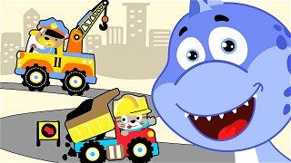 Colored cars Tow truck and dump truck - kids cartoon | Dinosaur Danny