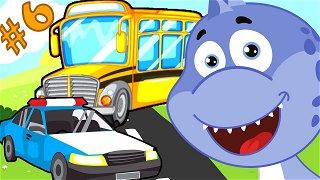 Cars for kids bus and police car - educative cartoon | Dinosaur Danny