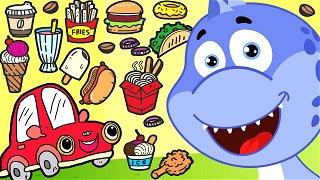 Food challenge cars guess food - Online Cartoons | Dinosaur Danny