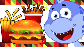 Playground Giant Food from McDonalds - cartoons in english   Dinosaur Danny