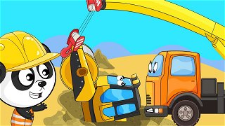 Road roller and crane - truck cartoon | Be-Be's Workshop