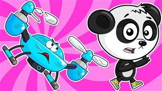 Panda catching a drone - Online Cartoons | Be-Be's Workshop