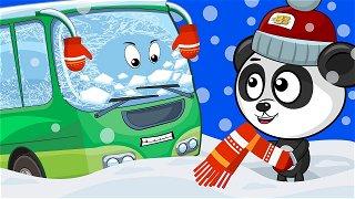 Green bus winter adventures - bus cartoon | Be-Be's Workshop