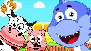 Learn animals Cow and pig - cartoon videos   Dinosaur Danny