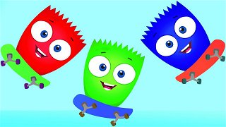 Learn colors blue white and light-blue - Videos For Kids   Op & Bob