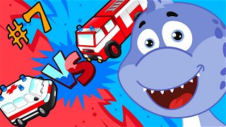 Food Challenge with ambulance and fire truck - Funny Cartoons | Dinosaur Danny